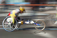 NEW YORK - NOVEMBER 7: Blurred abstraction of wheelchair division competitors during the 2010 New York City Marathon.