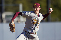 Central Michigan Chippewas pitcher Brady Williams (28) delivers a pitch to the plate against the Michigan Wolverines on March 29, 2016 at Ray Fisher Stadium in Ann Arbor, Michigan. Michigan defeated Central Michigan 9-7. (Andrew Woolley/Four Seam Images)