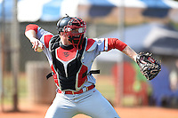 Ball State Cardinals catcher Joe Stubbe (20) during practice before a game against the Dartmouth Big Green on March 7, 2015 at North Charlotte Regional Park in Port Charlotte, Florida.  Ball State defeated Dartmouth 7-4.  (Mike Janes/Four Seam Images)