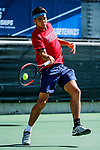 SURPRISE, AZ - MAY 12: Alvaro Regalado of the Columbus State Cougars returns a ball against the Barry Buccaneers during the Division II Men's Tennis Championship held at the Surprise Tennis & Racquet Club on May 12, 2018 in Surprise, Arizona. (Photo by Jack Dempsey/NCAA Photos via Getty Images)