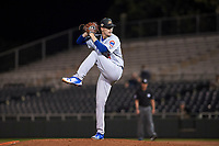 Mesa Solar Sox starting pitcher Alec Mills (24), of the Chicago Cubs organization, delivers a pitch to the plate during an Arizona Fall League game against the Scottsdale Scorpions on October 23, 2017 at Scottsdale Stadium in Scottsdale, Arizona. The Solar Sox defeated the Scorpions 5-2. (Zachary Lucy/Four Seam Images)