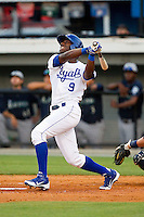 Jerrell Allen (9) of the Burlington Royals follows through on his swing against the Pulaski Mariners at Burlington Athletic Park on June20 2013 in Burlington, North Carolina.  The Royals defeated the Mariners 2-1 in 13 innings.  (Brian Westerholt/Four Seam Images)