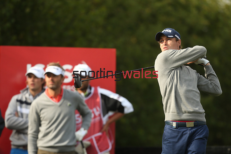 Welsh golfer Rhys Davies drives at the 14th hole during the first round of the ISPS Handa Wales Open 2013 at the Celtic Manor Resort<br /> <br /> 29.08.13<br /> <br /> ©Steve Pope-Sportingwales