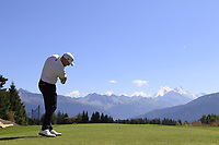 Stephen Gallacher (SCO) tees off the 7th tee during Sunday's Final Round 4 of the 2018 Omega European Masters, held at the Golf Club Crans-Sur-Sierre, Crans Montana, Switzerland. 9th September 2018.<br /> Picture: Eoin Clarke | Golffile<br /> <br /> <br /> All photos usage must carry mandatory copyright credit (© Golffile | Eoin Clarke)
