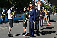 London, UK - 30 July 2020<br /> Madame Tussauds most popular figures 'queue' outside the attraction to celebrate the reopening to the public this Saturday 1st August of one of London's most notable tourist attractions. (L-R) Meghan Duchess of Sussex and Prince Harry, Donald Trump, Eddie Redmayne,  Beyoncé, Victoria and David Beckham, Dwayne Johnson, <br /> CAP/JOR<br /> ©JOR/Capital Pictures