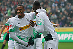06.10.2019, Borussia Park , Moenchengladbach, GER, 1. FBL,  Borussia Moenchengladbach vs. FC Augsburg,<br />  <br /> DFL regulations prohibit any use of photographs as image sequences and/or quasi-video<br /> <br /> im Bild / picture shows: <br /> 1:0 fuer Gladbach durch Denis Zakaria (Gladbach #8), Torjubel / Jubel / Jubellauf,    mit Alassane Pléa (Gladbach #14), <br /> <br /> Foto © nordphoto / Meuter