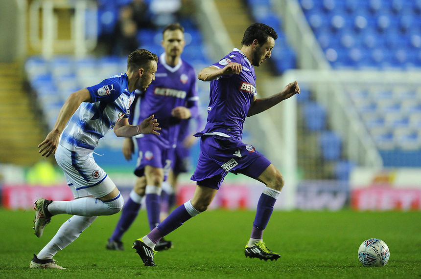 Bolton Wanderers' Will Buckley under pressure from Reading's Chris Gunter<br /> <br /> Photographer Kevin Barnes/CameraSport<br /> <br /> The EFL Sky Bet Championship - Reading v Bolton Wanderers - Tuesday 6th March 2018 - Madejski Stadium - Reading<br /> <br /> World Copyright &copy; 2018 CameraSport. All rights reserved. 43 Linden Ave. Countesthorpe. Leicester. England. LE8 5PG - Tel: +44 (0) 116 277 4147 - admin@camerasport.com - www.camerasport.com