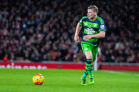 Stephen Kingsley of Swansea City  in action during the Barclays Premier League match between Arsenal and Swansea City at the Emirates Stadium, London, UK, Wednesday 02 March 2016