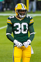 Green Bay Packers running back Jamaal Williams (30) during a National Football League game against the New Orleans Saints on October 22, 2017 at Lambeau Field in Green Bay, Wisconsin.  New Orleans defeated Green Bay 26-17. (Brad Krause/Krause Sports Photography)