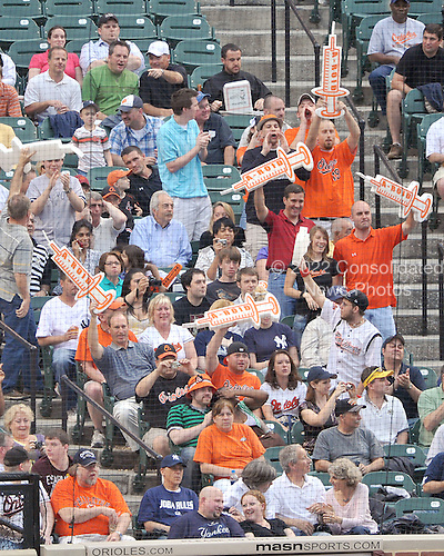 Baltimore, MD - May 8, 2009 -- Baltimore Oriole fans taunt New York Yankees third baseman Alex Rodriguez as he wait on-deck in the first inning at Oriole Park at Camden Yards in Baltimore, MD on Friday, May 8, 2009.  Rodriguez hit a first pitch 3 run home run when he came to the plate..Credit: Ron Sachs / CNP.(RESTRICTION: NO New York or New Jersey Newspapers or newspapers within a 75 mile radius of New York City)