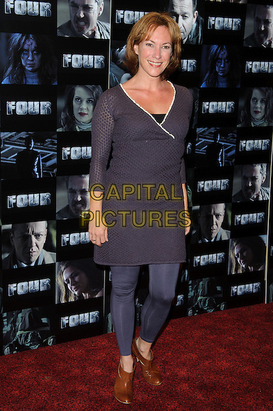 Tanya Franks .UK premiere of 'Four' at The Empire Cinema - Arrivals, London, England..October 10th, 2011.full length blue leggings purple dress top .CAP/CJ.©Chris Joseph/Capital Pictures.