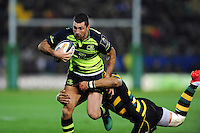 Rob Kearney of Leinster Rugby takes on the Northampton Saints defence. European Rugby Champions Cup match, between Northampton Saints and Leinster Rugby on December 9, 2016 at Franklin's Gardens in Northampton, England. Photo by: Patrick Khachfe / JMP