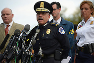 October 3, 2013  (Washington, DC)  U.S. Capitol Police Chief Kim Dine speaks during a news conference with D.C. Metropolitan Police Chief Cathy Lanier (r) and Ed Donovan of the Secret Service (l), after a woman was shot and killed by police at the U.S. Capitol building October 3, 2013. (Photo by Don Baxter/Media Images International)