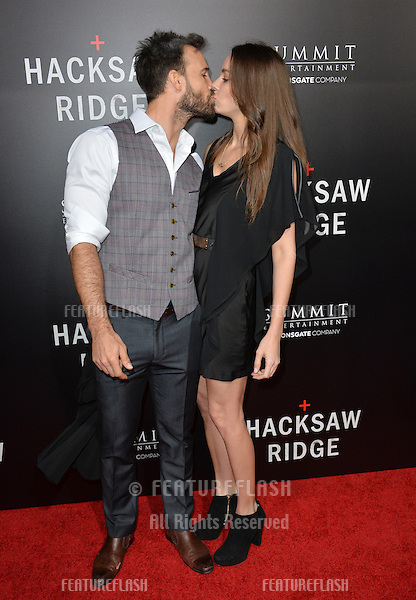 LOS ANGELES, CA. October 24, 2016: Actor Luke Pegler &amp; actress Patricia Rosales at the Los Angeles premiere of &quot;Hacksaw Ridge&quot; at The Academy's Samuel Goldwyn Theatre, Beverly Hills.<br /> Picture: Paul Smith/Featureflash/SilverHub 0208 004 5359/ 07711 972644 Editors@silverhubmedia.com