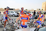 Rabobank Cycling Team riders before the start of the 1st Stage of the 2012 Tour of Qatar running from Umm Slal Mohammed to Doha Golf Club, Doha, Qatar, 5th February 2012 (Photo Eoin Clarke/Newsfile)