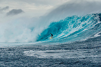 Namotu Island Resort, Nadi, Fiji (Sunday, May 27th 2018): Ryan Seelbach (USA) -<br /> There had been strong SE winds all night along with heavy rain so the ocean was messy at first light. Cloudbreak was big and bumpy at dawn and the namotu boat was the first in the line up. The set waves were in the 15' plus range  and the ocean needed to settle down before any one hit the water.<br /> As the tide dropped it cleaned up and the first surfers paddled out. The first ridden waves were tow-in and in the 20' plus range. The swell was the biggest just after the low tide and stayed in the 15'-20' range for the rest of the day.<br /> Crew paddled and towed into the waves and there were also crew who kite surfed when the wind ws strong enought.<br /> There were strong wind all day and overcast conditions with long periods of rain. The huge swell forecast had big wave surfers flying in from around the world and it had already been call the 'Black Mamba' swell, one of the biggest to hit Fiji in the past six years.  <br /> Photo: joliphotos.com