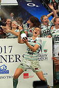 7th December 2017, Twickenham Stadium, London, England; The Womens Varsity Rugby Match, Cambridge versus Oxford;   Varsity match winners 2017 Cambridge Women celebrate after the match