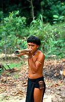 Native and blowdart,  Borneo, Malaysia