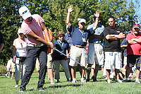 Yani Tseng chipped her ball onto the 15th green at the 5th Annual Notah Begay III Foundation Challenge at Atunyote Golf Club in Vernon, New York on August 29, 2012