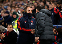 25th February 2020; Stamford Bridge, London, England; UEFA Champions League Football, Chelsea versus Bayern Munich; Bayern Munich manager Hans-Dieter Flick shaking hands with Chelsea Manager Frank Lampard before kick off
