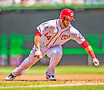 25 July 2013: Washington Nationals outfielder Bryce Harper avoids a pick-off at first during a game against the Pittsburgh Pirates at Nationals Park in Washington, DC. The Nationals salvaged the last game of their series, winning 9-7 ending their 6-game losing streak. Mandatory Credit: Ed Wolfstein Photo *** RAW (NEF) Image File Available ***
