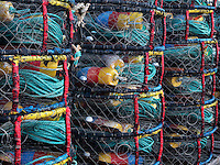 Crab pots  at Newport Harbor on the Yaquina River, Oregon
