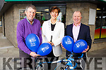 At the launch of the Pieta House Cycleton in Nolan&rsquo;s Garage on Monday.<br /> L-r, Niall Nolan, Cllr Norma Foley (Mayor of Tralee) and Con O&rsquo;Connor (Pieta House)