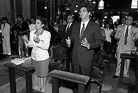Missa de posse do governador do estado do Par&middot; Jader Barbalho acompanhado da esposa Elcione Barbalho em 15/03/1991<br /> Foto: Geraldo Ramos/ Interfoto
