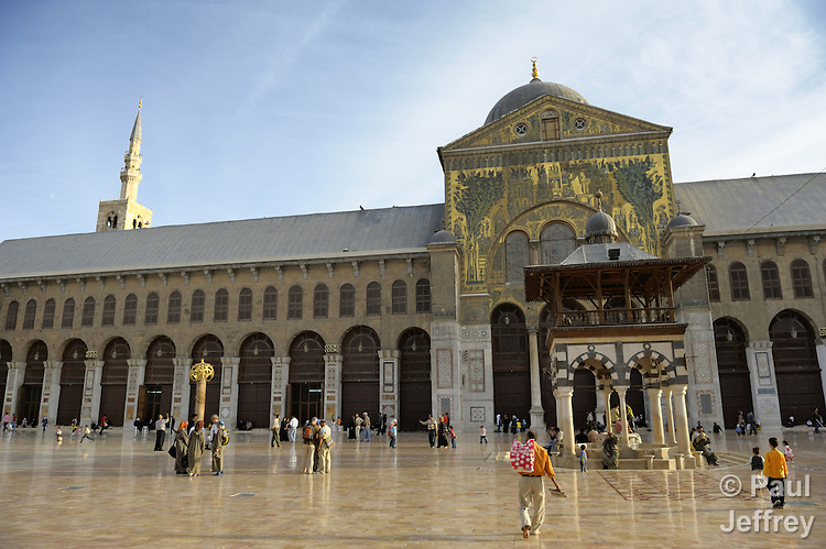 The Umayyad Mosque, also known as the Grand Mosque of Damascus, is one of the largest mosques in the world, and one of the oldest sites of continuous prayer since the rise of Islam. A shrine in the mosque is said to contain the head of John the Baptist.