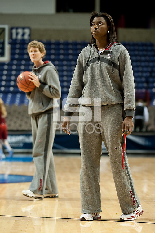 SPOKANE, WA - MARCH 25, 2011: Assistant Coach Bobbie Kelsey at the Stanford Women's Basketball, NCAA West Regionals practice at Spokane Arena on March 25, 2011.