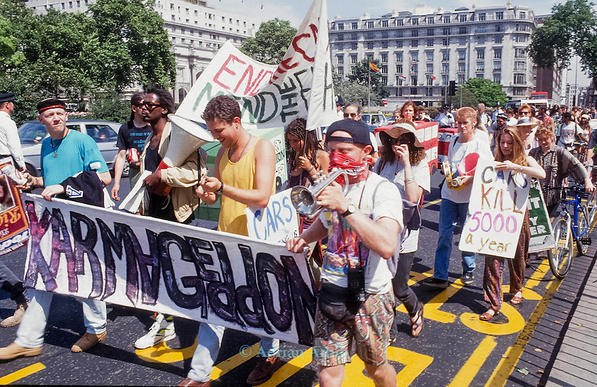 Karmageddon march, Earth First against the prevailing car culture, pollution and congestion, through the streets of London. 1992 .