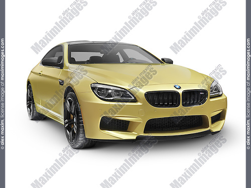 Gold 2015 BMW M6 Coupe luxury car isolated on white background with clipping path