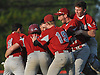 Clarke teammates celebrate after Chris Lydon #14 delivered an RBI infield single to give the Rams a walkoff 1-0 win over Mineola in a Nassau County Conference A-4 varsity baseball game played at BOCES Field in Westbury on Monday, May 7, 2018.
