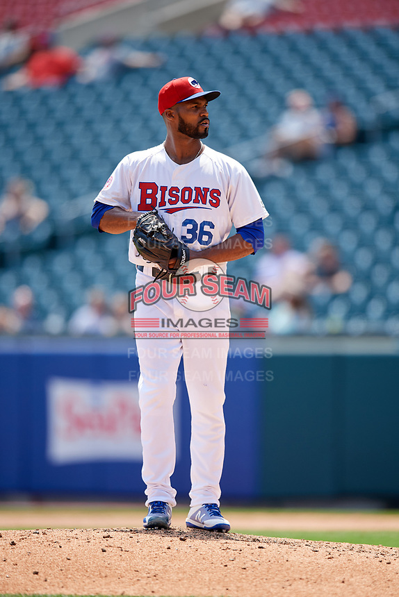 Buffalo Bisons relief pitcher Al Alburquerque (36) gets ready to deliver a pitch during a game against the Pawtucket Red Sox on June 28, 2018 at Coca-Cola Field in Buffalo, New York.  Buffalo defeated Pawtucket 8-1.  (Mike Janes/Four Seam Images)