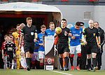 24.02.2019 Hamilton v Rangers: Nick Walsh leads the teams out