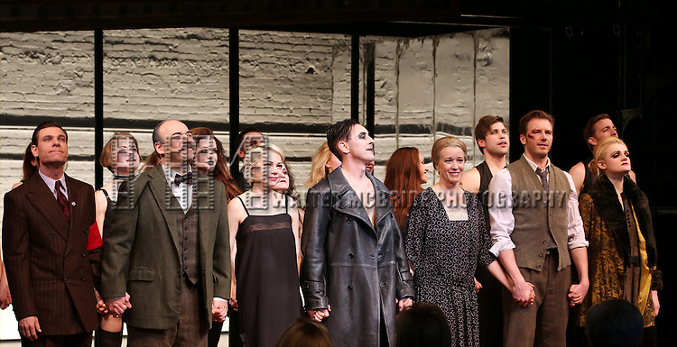 Aaron Krohn, Danny Burstein, Michelle Williams, Alan Cumming, Linda Emond, Bill Heck and Gayle Rankin during the Broadway Opening Night Performance Curtain Call for 'Cabaret' at Studio 54 on April 24, 2014 in New York City.