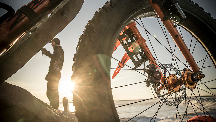 Early morning coffee ride on fat bikes in Marquette, Michigan a tradition began by Blackrocks Brewery.