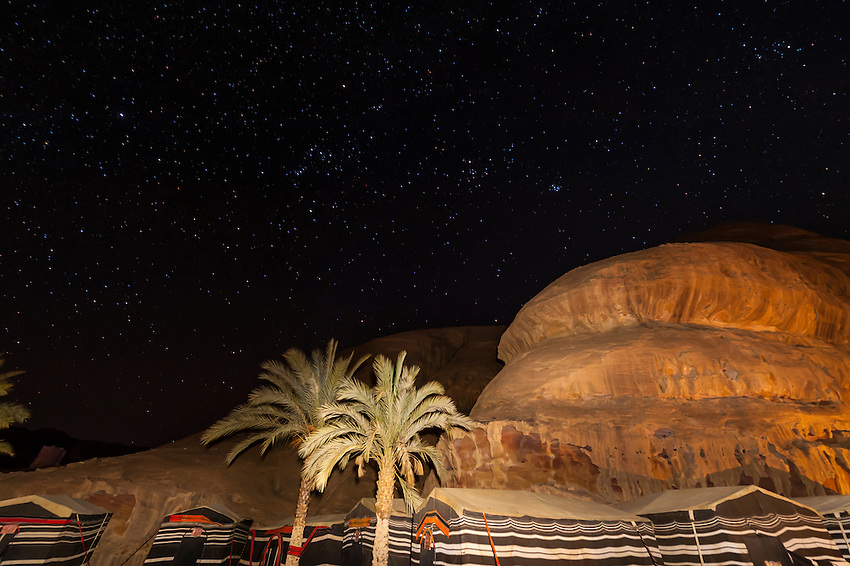 Starry night sky, Captain's Desert Camp in the Arabian Desert at Wadi Rum, Jordan.