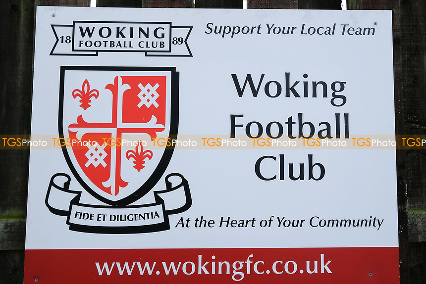 Woking signage during Woking vs Watford, Emirates FA Cup Football at The Laithwaite Community Stadium on 6th January 2019