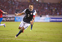 San Jose, Costa Rica - Wednesday, September 6, 2013: The USMNT vs Costa Rica during a WC Qualifying match at Estadio Nacional. Clint Dempsey celebrates after scoring on a penalty kick.