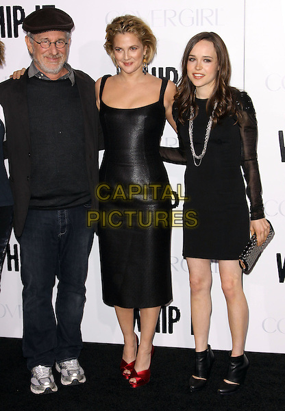 "STEVEN SPEILBERG, DREW BARRYMORE & ELLEN PAGE .Attending the ""Whip It"" Los Angeles Premiere held At Grauman's Chinese Theatre, Hollywood, California, USA, 29th September 2009..full length black dress shiny leather red peep toe shoes cap hat jeans trainers ankle boots booties  director .CAP/ADM/KB.©Kevan Brooks/AdMedia/Capital Pictures."