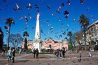 Pigeons fly over the Plaza de Mayo in downtown Buenos Aires, in front of the Casa Rosada presidential palace.