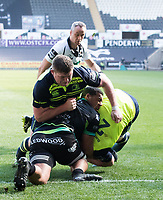 Leinster's Dan Leavy crashes over to score his sides second try<br /> <br /> Photographer Simon King/CameraSport<br /> <br /> Guinness PRO12 Round 19 - Ospreys v Leinster Rugby - Saturday 8th April 2017 - Liberty Stadium - Swansea<br /> <br /> World Copyright &copy; 2017 CameraSport. All rights reserved. 43 Linden Ave. Countesthorpe. Leicester. England. LE8 5PG - Tel: +44 (0) 116 277 4147 - admin@camerasport.com - www.camerasport.com