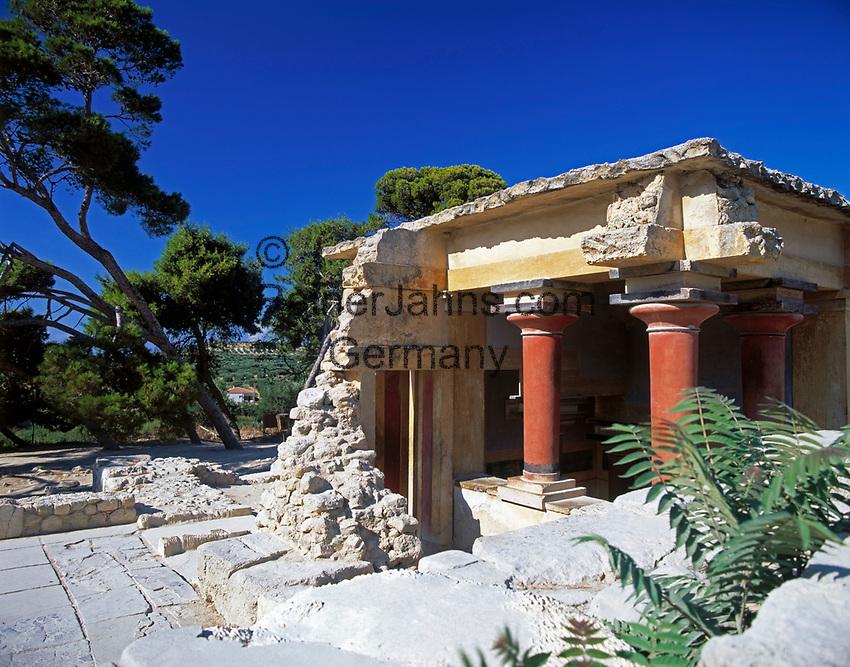 Griechenland, Kreta, Knossos: Palast von Knossos - rekonstruiertes Teilstueck | Greece, Crete, Knosós: Palace of Knosós - reconstructed section