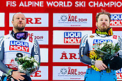 9th February 2019, ARE, Sweden; Aksel Lund Svindal and Kjetil Jansrud of Norway celebrates after the mens downhill during the FIS Alpine World Ski Championships on February 9, 2019 in Are.