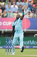 Jofra Archer (England) in action during Australia vs England, ICC World Cup Semi-Final Cricket at Edgbaston Stadium on 11th July 2019