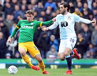 Preston North End's Ryan Ledson holds off the challenge from Blackburn Rovers' Danny Graham<br /> <br /> Photographer Rich Linley/CameraSport<br /> <br /> The EFL Sky Bet Championship - Blackburn Rovers v Preston North End - Saturday 9th March 2019 - Ewood Park - Blackburn<br /> <br /> World Copyright © 2019 CameraSport. All rights reserved. 43 Linden Ave. Countesthorpe. Leicester. England. LE8 5PG - Tel: +44 (0) 116 277 4147 - admin@camerasport.com - www.camerasport.com