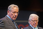 March 20, 2012 - Hempstead, New York, U.S. - BOB WOODWARD (left) and CARL BERNSTEIN (right), investigative journalists, speak on 40th Anniversary of the Watergate political scandal, at Hofstra University. The lecture was about their investigation, while Washington Post reporters, into the break-in, and its cover-up, of the Democratic National Headquarters at the Watergate office complex in Wash. DC, which lead to the resignation of Pres. Nixon.