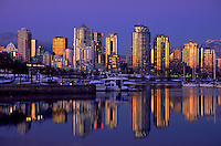 The Vancouver skyline at dusk. Vancouver, Canada.