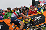 Fabio Aru (ITA) UAE Team Emirates loses time as he climbs to the finish of Stage 14 of the 2018 Giro d'Italia, running 186km from San Vito al Tagliamento to Monte Zoncolan features Europe's hardest climb, Italy. 19th May 2018.<br /> Picture: LaPresse/Marco Alpozzi | Cyclefile<br /> <br /> <br /> All photos usage must carry mandatory copyright credit (&copy; Cyclefile | LaPresse/Marco Alpozzi)